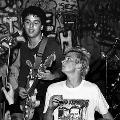 Billie Joe Armstrong & Mike Dirnt (I think this is at Gilman Street because the graffiti looks familiar but please correct me if I'm wrong)