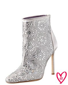 BG 111th Anniversary Lacelimi Crystal-Covered Satin Bootie by Manolo Blahnik at Bergdorf Goodman.