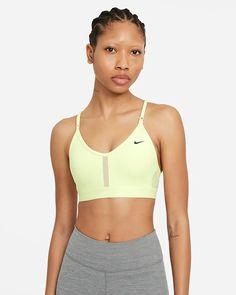 Nike Dri-FIT Indy Women's Light-Support Padded V-Neck Sports Bra. Nike.com Nike Dri Fit, Nike Logo, Sport Nike, Women's Sports Bras, Grey Fashion, White Style, S Models, Workout, Sports Women