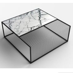 Wilma Marble & Iron Coffee Table (Grill Table Style Coffee Table) The black metal framing that makes up the structure of the table divides the top surface i Cool Furniture, Modern Furniture, Furniture Design, Asian Furniture, Traditional Furniture, Furniture Stores, Design Grill, Iron Coffee Table, Coffee Tables