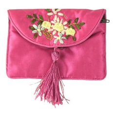 Ribbon embroidery clutch bag