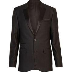 River Island Black slim tux suit jacket ($37) ❤ liked on Polyvore featuring men's fashion, men's clothing, men's outerwear, men's jackets, men, sale, mens satin jacket, mens tuxedo jacket, mens tuxedo suits and mens dinner suits