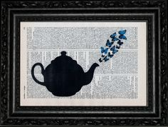 Teapot Butterfly Dictionary Art Vintage Book Print Recycled Vintage Upage Antique Illustration Repurposed Dictionary Page Buy 2 Get 1 FREE. $7.99, via Etsy.