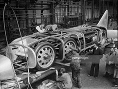 Captain George E T Eyston's new twin engine car 'Thunderbolt', designed to travel at 350mph, at the Bean Works, Tipton, is ready for the coachworks. It was shipped to America where he broke the land speed record with a speed of 345.49 miles per hour at Salt Lake City, Utah, USA.