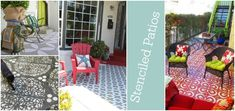 Stenciled patios and concrete porches with examples and tutorials. Refresh your patio with a little paint and a stencil!.