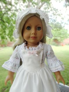 18 Doll Clothes Colonial Style Dress Cap and by Designed4Dolls