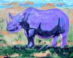 African Purple Rhino Original Fine Art DAN BYL PAINTING Animal Wildlife XXL…