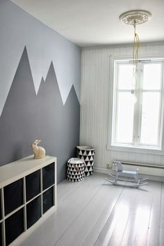 Energy Efficient Home Upgrades in Los Angeles For $0 Down -- Home Improvement Hub -- Via - zigzag wall contemporary modernist , minimal scandi chic with graphic art style mountain paint scheme cool but may feel a little chilly to live in in those shades