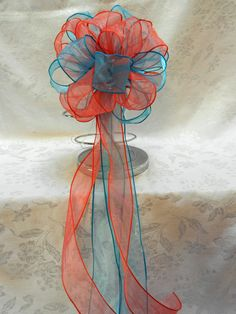 Coral and Teal Wedding/ Pew Bows set of 10 by creativelycarole, $90.00
