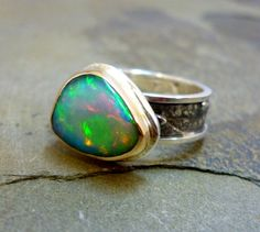 Stunning Welo Opal Ring with a Fused Sterling Silver Band and 14K Yellow Gold Setting Size 6