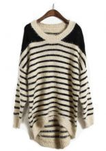 Apricot Batwing Long Sleeve Striped Pullovers Sweater $37.00