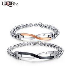 Wholesale New Fashion Stainless Steel Link Chain Bracelets pulseras Interweave Engraved Letter Charm Bracelets For Men Women