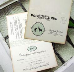 Rustic Woodland Wedding Invitation Set - Doe and Buck Silhouettes