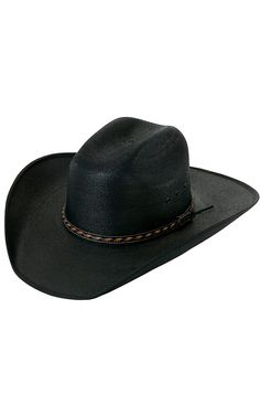 729ebb19488e1 Larry Mahan®30X Lawton Black Palm Leaf with Bound Edge Cowboy Hat Mens Western  Hats