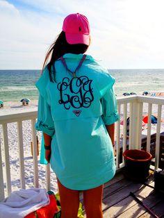 preppy beach essentials--monogrammed fishing shirt!!