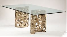 """""""BF Double Pedestal"""" - an authentic Silas Seandel dining room table executed in natural bronze End Tables, Table Bases, Dining Room Table, Dining Rooms, Gold Furniture, Cocktail Tables, Pedestal, Room Decor, Bronze"""