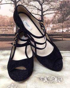 $650 Prada Calzature Donna Camoscio Black Suede Platform Pumps Shoes 36.5 6.5