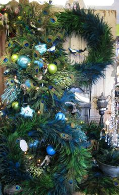 Decorating with peacock feathers for Christmas