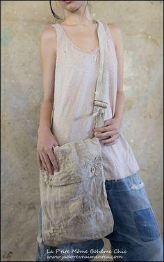 Bag-Shoulder Bag 001 #1 Antique grain sack