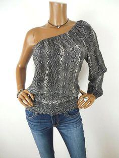 0a51678eb225d5 MICHAEL KORS Womens Top S 100% SILK Shirt SEXY 1 Shoulder Black Gray