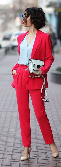 Wear Argent's Tomato suit with the Chambray Cap Slv shell... yes, red and light blue work together her!
