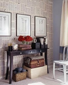 Book pages as wallpaper - hmmm, this could be a fantastic way to cover up 1970s paneling!!!