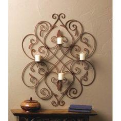 Four Candle Iron Fleur De Lis Wall Sconce Decor