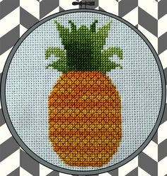 Gold pineapple cross stitch pattern  Instant PDF download by pdxstitchshop
