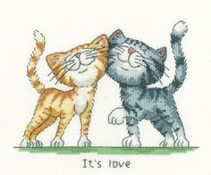 Heritage Crafts It's Love - Cross Stitch Pattern. Designed by Peter Underhill. Model stitched on 27 count fabric (or 14 ct Aida) with DMC floss. Finished size i