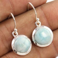 """Natural LARIMAR Gems 925 Sterling Silver Jewelry Length 28mm 1 1/8"""" Earrings NEW #Unbranded #DropDangle"""