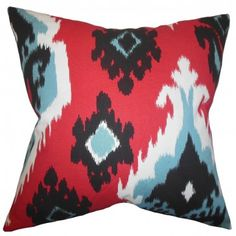 Update your decor style in an instant with this artistic and eccentric accent pillow. This throw pillow features a festive color palette and a unique ikat pattern. Shades of red, black, blue and white are featured in this toss pillow. Add this to your sofa, bed or seat for extra support and comfort. Made of 100% high-quality cotton fabric. $55.00 #ikat #ikatpillow #tosspillow #homedecor