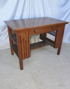 Antique Mission Oak Library Table Desk with bookshelf on ends Arts and Crafts
