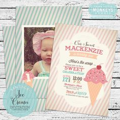 Vintage Ice Cream Invitation PLUS Matching Thank You Note by 3LittleMonkeysStudio on Etsy https://www.etsy.com/listing/159751388/vintage-ice-cream-invitation-plus