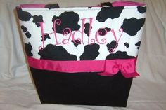 Absolutely love this bag!!!     #JBB Pink and Black Cow Print Baby Diaper Bag by PoshBabyStore.com