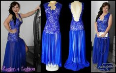 Royal blue matric farewell dress with nude bodice and a royal blue lace overlay. Open back with 3 diamante straps for detail. With sheer chiffon flowy bottom with a slit. #mariselaveludo #matricdance #passion4fashion #matricdress #fashion #royalbluelace #royalbluedress #royalblue #sexymatricdress