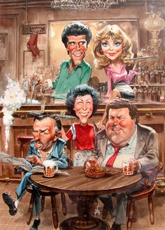 TV Guide May 1986 - Ted Danson, Shelley Long, John Ratzenberger, Rhea Perlman and George Wendt of Cheers. Illustration by Bruce Stark. Cartoon Faces, Funny Faces, Cartoon Art, Funny Caricatures, Celebrity Caricatures, Celebrity Drawings, Caricature Artist, Caricature Drawing, Archie Comics