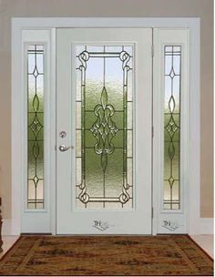 Home Remodeling Company on Long Island Entry Doors With Glass, Glass Front Door, Glass Doors, Wooden Main Door Design, Main Entrance Door, Window Grill Design, Stained Glass Door, Door Design Interior, Exterior House Colors