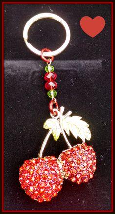 Swarovski Cherry Keychain by Purrwoof on Etsy, $12.00