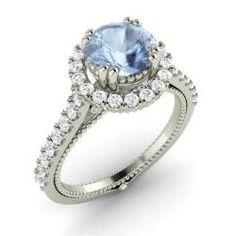 Round Aquamarine Ring in 14k White Gold with SI Diamond