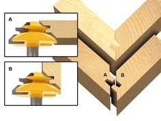 The 45° Lock Miter Router Bit creates interlocking fingers that provide a strong mechanical locking action that makeswoodcraft such as frame, cabinet, wardrobe