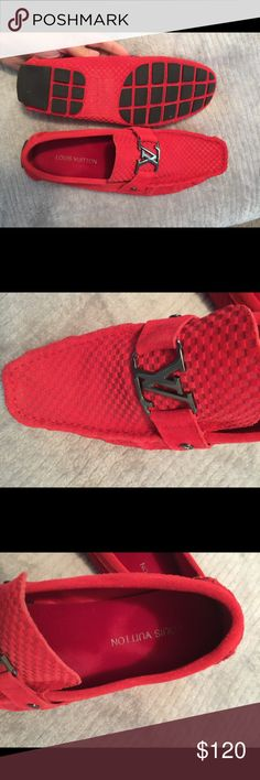 Louis Vuitton Red Men's sued loafers Very nice red suede men's loafers only worn twice. Louis Vuitton Shoes Loafers & Slip-Ons