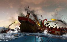 First Punic War ,the naval battle at the Egadi Islands (241 B.C.E.) Raising the Ram.
