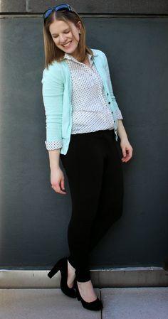 Minty Monday | Something Good, mint cardigan, work outfit, ponte pants, polka dot, polka dot blouse