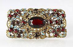 Czechoslovakia Garnet rhinestone enamel sash Brooch, Forget me Not flowers