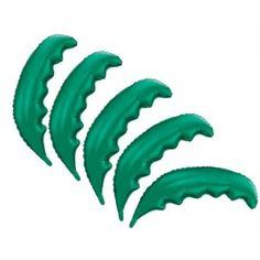 5 Pack of Green Palm Frond Shaped Foil Balloons