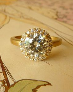 Kate Szabone Jewellery Inc. - Round Moissanite and Diamond Halo Ring