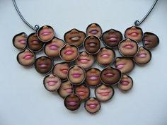 Margaux Lange: 'Smiley Necklace' sterling silver, barbie doll smiles, resin