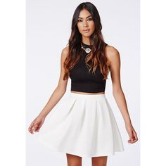 Missguided Cornelia Scuba Pleated Skater Skirt White