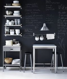kitchen style blackboard wall - perhaps in a small room