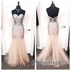 Ball gown, sparkly open back pink tulle long evening dress, prom dress 2016